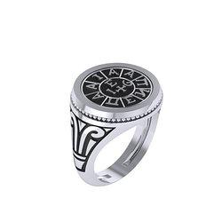 Γυναικείο Κλασικό Στρόγγυλο Δαχτυλίδι 2.03 με την Σφραγίδα τής Φιλικής Εταιρείας / Ασημένιο, χειροποίητο, δίχρωμο, λευκό - μαύρο με πατίνα
