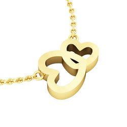 Κολιέ Διπλή Καρδιά 1 / Ασημένιο, χειροποίητο, κίτρινο επιχρυσωμένο