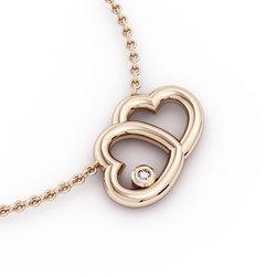 Κολιέ Διπλή Καρδιά 2 / Ασημένιο, χειροποίητο, ροζ επιχρυσωμένο με ένα ζιργκόν