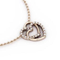 Κολιέ Διπλή Καρδιά 3 / Ασημένιο, χειροποίητο, ροζ επιχρυσωμένο με ζιργκόν