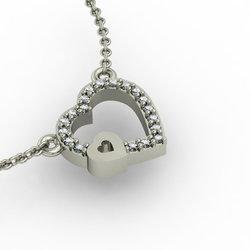 Κολιέ Διπλή Καρδιά 4 / Ασημένιο, χειροποίητο, λευκό επιπλατινωμένο με ζιργκόν