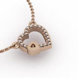 Κολιέ Διπλή Καρδιά 4 / Ασημένιο, χειροποίητο, ροζ επιχρυσωμένο με ζιργκόν
