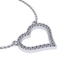 Κολιέ Καρδιά / Ασημένιο, χειροποίητο, λευκό επιπλατινωμένο με ζιργκόν