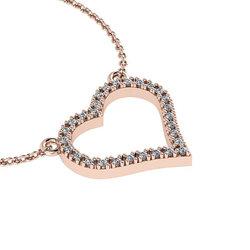 Κολιέ Καρδιά 1 / Ασημένιο, χειροποίητο, ροζ επιχρυσωμένο με ζιργκόν