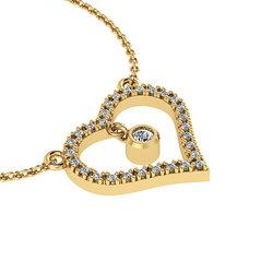 Κολιέ Καρδιά με εσωτερικό μενταγιόν καστόνι / Ασημένιο, χειροποίητο, κίτρινο  επιχρυσωμένο με ζιργκόν