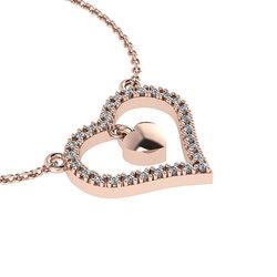 Κολιέ Καρδιά με εσωτερικό μενταγιόν καρδούλα / Ασημένιο, χειροποίητο, ροζ επιχρυσωμένο με ζιργκόν