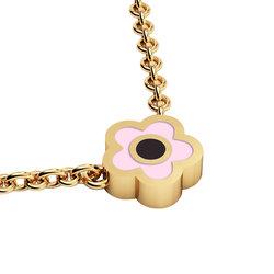 Κολιέ Μάτι σε σχήμα Μαργαρίτας / Ασημένιο, χειροποίητο, κίτρινο επιχρυσωμένο με ροζ σμάλτο