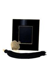 κορνίζα φωτογραφίας, από ορείχαλκο με μαύρο σμάλτο, με διακοσμητικό ρόδι με αλυσίδα και φούντα / 2ΚΟ0500