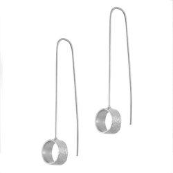 Κρεμαστά Σκουλαρίκια Α553 / Ασημένια, χειροποίητα, λευκά επιπλατινωμένα