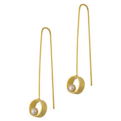 Κρεμαστά Σκουλαρίκια Α554 / Ασημένια, χειροποίητα, κίτρινα επιχρυσωμένα με μαργαριτάρια