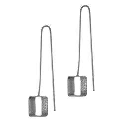 Κρεμαστά Σκουλαρίκια Α555 / Ασημένια, χειροποίητα, μαύρα επιροδιωμένα