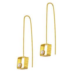 Κρεμαστά Σκουλαρίκια Α556 / Ασημένια, χειροποίητα, επιχρυσωμένα με μαργαριτάρια