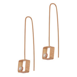 Κρεμαστά Σκουλαρίκια Α556 / Ασημένια, χειροποίητα, ροζ επιχρυσωμένα με μαργαριτάρια