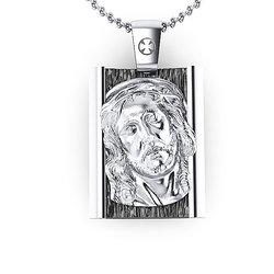 Θρησκευτικό Μενταγιόν Ιησούς Χριστός 9 / Ασημένιο, χειροποίητο, δίχρωμο με πατίνα