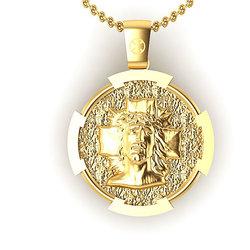 Θρησκευτικό Μενταγιόν Ιησούς Χριστός Εσταυρωμένος 3 / Ασημένιο, χειροποίητο, επιχρυσωμένο / μπροστινή όψη με τον Χριστό