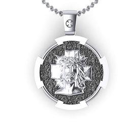 Θρησκευτικό Μενταγιόν Ιησούς Χριστός Εσταυρωμένος 3 / Ασημένιο, χειροποίητο, με πατίνα / μπροστινή όψη με τον Χριστό