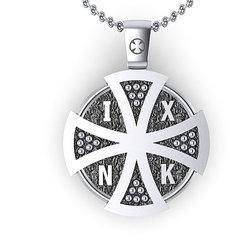 Θρησκευτικό Μενταγιόν Ιησούς Χριστός Εσταυρωμένος 3 / Ασημένιο, χειροποίητο, με πατίνα / πίσω όψη Σταυρό και το Ιησούς Νικά