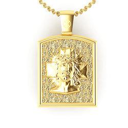 Θρησκευτικό Μενταγιόν Ιησούς Χριστός Εσταυρωμένος 1 / Ασημένιο, χειροποίητο, επιχρυσωμένο / μπροστινή όψη με τον Χριστό