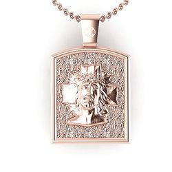 Θρησκευτικό Μενταγιόν Ιησούς Χριστός Εσταυρωμένος 1 / Ασημένιο, χειροποίητο, ροζ επιχρυσωμένο / μπροστινή όψη με τον Χριστό