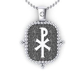 Θρησκευτικό Μενταγιόν Ιησούς Χριστός Εσταυρωμένος 2 / Ασημένιο, χειροποίητο, με πατίνα / πίσω όψη με Χριστόγραμμα