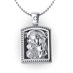 Μενταγιόν Ιησούς Χριστός - Παναγία Γλυκοφιλούσα 10 / Ασημένιο, χειροποίητο, σε παραλληλόγραμμο σχήμα κορνίζας, δίχρωμο με πατίνα / πίσω όψη με την Παναγία