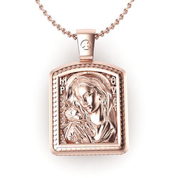 Μενταγιόν Ιησούς Χριστός - Παναγία Γλυκοφιλούσα 10 / Ασημένιο, χειροποίητο, σε παραλληλόγραμμο σχήμα κορνίζας, ροζ επιχρυσωμένο / πίσω όψη με την Παναγία