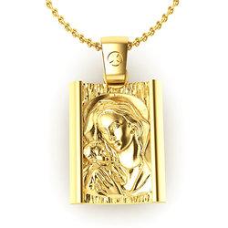 Θρησκευτικό Μενταγιόν Παναγία Γλυκοφιλούσα 9 / Ασημένιο, χειροποίητο, επιχρυσωμένο