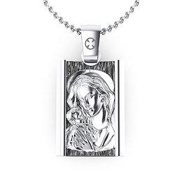 Θρησκευτικό Μενταγιόν Παναγία Γλυκοφιλούσα 9 / Ασημένιο, χειροποίητο, δίχρωμο λευκό μαύρο με πατίνα