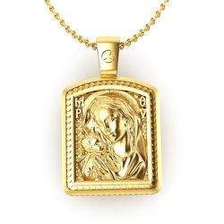 Θρησκευτικό Μενταγιόν Παναγία Γλυκοφιλούσα - Ιησούς Χριστός 10 / Ασημένιο, χειροποίητο, σε παραλληλόγραμμη φόρμα κορνίζας, επιχρυσωμένο / μπροστινή όψη με την Παναγία