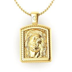 Θρησκευτικό Μενταγιόν Παναγία Γλυκοφιλούσα - Ιησούς Χριστός 10 / Ασημένιο, χειροποίητο, σε παραλληλόγραμμη φόρμα κορνίζας, επιχρυσωμένο / πίσω όψη με τον Ιησού Χριστό