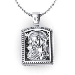 Θρησκευτικό Μενταγιόν Παναγία Γλυκοφιλούσα - Ιησούς Χριστός 10 / Ασημένιο, χειροποίητο, σε παραλληλόγραμμη φόρμα, δίχρωμο με πατίνα / μπροστινή όψη με την Παναγία