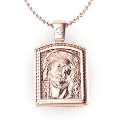Θρησκευτικό Μενταγιόν Παναγία Γλυκοφιλούσα - Ιησούς Χριστός 10 / Ασημένιο, χειροποίητο, σε παραλληλόγραμμη φόρμα, ροζ επιχρυσωμένο / πίσω όψη με τον Ιησού Χριστό