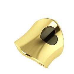 Μοντέρνο Γυναικείο Δαχτυλίδι 3 με καρδιά / Ασημένιο, χειροποίητο, κίτρινο επιχρυσωμένο