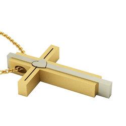Μοντέρνος Τριπλός Βαπτιστικός Σταυρός 10 / Ασημένιος, χειροποίητος, δίχρωμος (λευκό - κίτρινο)