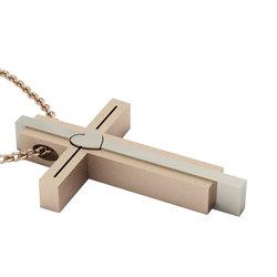 Μοντέρνος Τριπλός Βαπτιστικός Σταυρός 10 / Ασημένιος, χειροποίητος, δίχρωμος (λευκό - ροζ)
