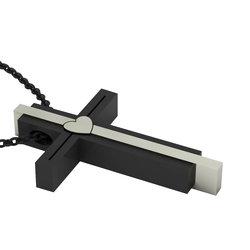 Μοντέρνος Τριπλός Βαπτιστικός Σταυρός 10 / Ασημένιος, χειροποίητος, δίχρωμος (λευκό - μαύρο)