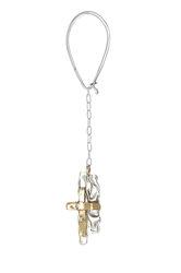 μπρελόκ - κλειδοθήκη, χειροποίητο, με παράσταση σταυρό, δίχρωμο, κατασκευασμένο από ασήμι, και ορείχαλκο / 2ΜΡ0084