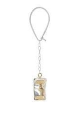 μπρελόκ - κλειδοθήκη, χειροποίητο,  δίχρωμο, κατασκευασμένο από ασήμι, και ορείχαλκο / 2ΜΡ0086