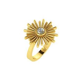 Νεανικό Μοντέρνο Δαχτυλίδι Ήλιος 1131 / Ασημένιο, χειροποίητο, κίτρινο επιχρυσωμένο με μία συνθετική πέτρα λευκή