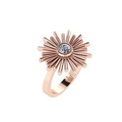 Νεανικό Μοντέρνο Δαχτυλίδι Ήλιος 1131 / Ασημένιο, χειροποίητο, ροζ επιχρυσωμένο με μία συνθετική πέτρα λευκή