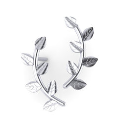 Νεανικά Μοντέρνα Σκουλαρίκια 1001 κολλητά στο αυτί - κλαδιά / Ασημένια, χειροποίητα, λευκά επιπλατινωμένα