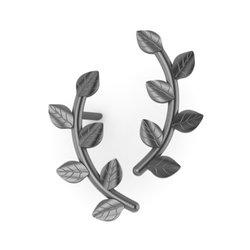 Νεανικά Μοντέρνα Σκουλαρίκια 1001 κολλητά στο αυτί - κλαδιά / Ασημένια, χειροποίητα, μαύρα επιροδινωμένα