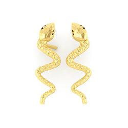 Νεανικά Μοντέρνα Σκουλαρίκια 1004 κολλητά στο αυτί - φίδια / Ασημένια, χειροποίητα, επιχρυσωμένα