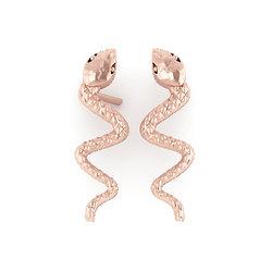 Νεανικά Μοντέρνα Σκουλαρίκια 1004 κολλητά στο αυτί - φίδια / Ασημένια, χειροποίητα, ροζ επιχρυσωμένα