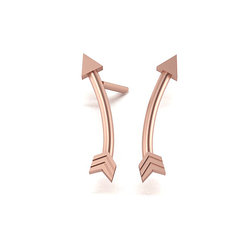 Νεανικά Μοντέρνα Σκουλαρίκια κολλητά 1005 στο αυτί - βέλος / Ασημένια, χειροποίητα, ροζ επιχρυσωμένα