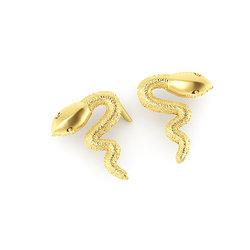 Νεανικά Μοντέρνα Σκουλαρίκια 1007 κολλητά στο αυτί - φίδια / Ασημένια, χειροποίητα, επιχρυσωμένα