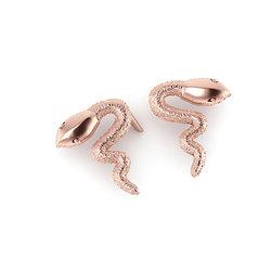 Νεανικά Μοντέρνα Σκουλαρίκια 1007 κολλητά στο αυτί - φίδια / Ασημένια, χειροποίητα, ροζ επιχρυσωμένα