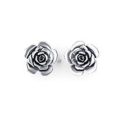 Σκουλαρίκια κολλητά στο αυτί 1008 τριαντάφυλλα / Ασημένια, χειροποίητα, λευκά επιπλατινωμένα