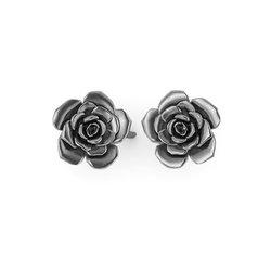Νεανικά Μοντέρνα Σκουλαρίκια 1008 κολλητά στο αυτί - τριαντάφυλλα / Ασημένια, χειροποίητα, μαύρα επιροδιωμένα