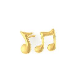 Νεανικά Μοντέρνα Σκουλαρίκια 1104 κολλητά στο αυτί - μουσικές νότες / Ασημένια, χειροποίητα, επιχρυσωμένα